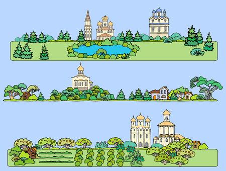 正統派の寺院と夏の風景です。フィールド、庭園、湖と教会からのパノラマ ビュー。手描きのスケッチ