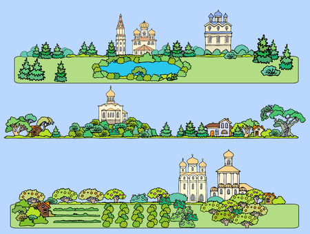 Summer landscape with an orthodox temple. Panoramic view from the fields, gardens, a lake and a church.Hand drawn sketch Ilustrace
