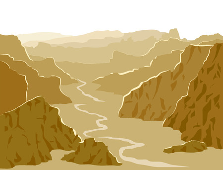 smoky mountains: Panorama vector illustration. Landscape with huge yellow mountains. Mountain ridges and valley