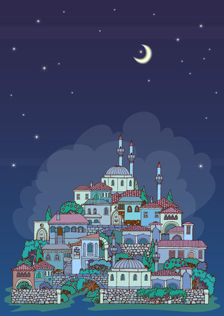 hillside: Hand drawn sketchy Old oriental city.Middle East traditional architecture style.Religious buildings.Town at night time.The small Muslim village on the slopes