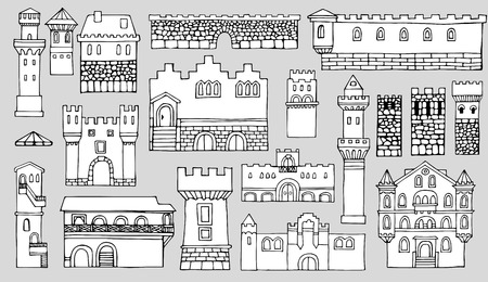 bell tower: Black and white line drawing, cityscape architectural elements vector set.Hand drawn isolated sketchy fortress. Doodle set of cartoon towers and castles