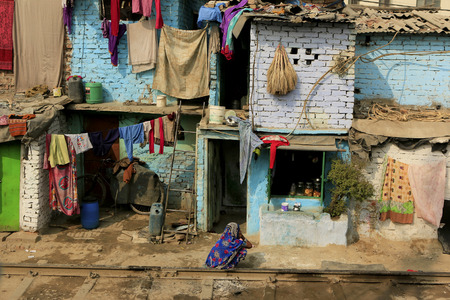 hanged woman: Delhi,India - November 13,2014 : Ghetto and slums in Delhi India.These unidentified people live in  avery  difficult conditions on the ghettos of the city. Editorial