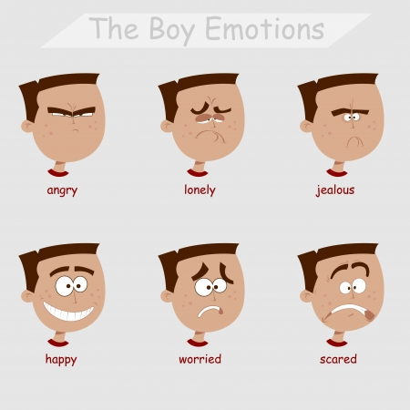 the boy emotions Vector