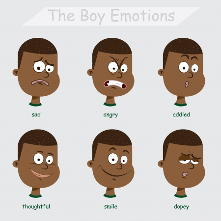 the black boy emotions Vector