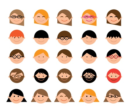 Cartoon men and womens faces