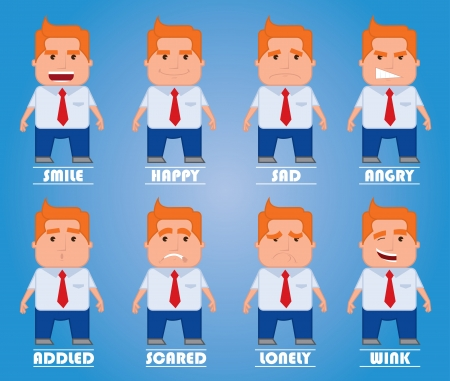 Cartoon manager in various poses for use in presentations, etc  Illustration