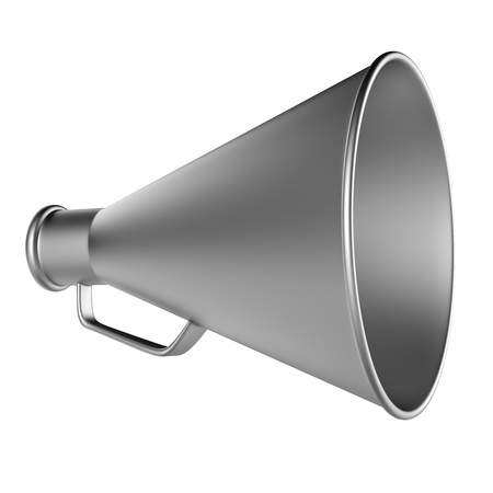 3D Bullhorn    Retro megaphone in a aluminium color isolated on white background