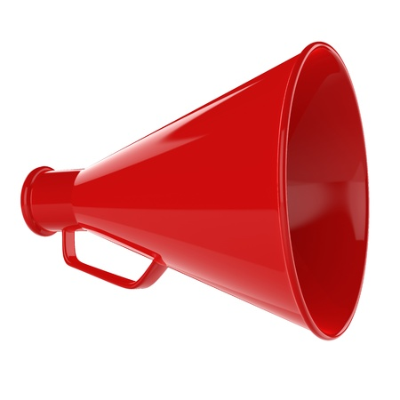 3D Bullhorn    Retro megaphone in a red color isolated on white background  Stock Photo