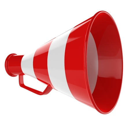 music loudspeaker: 3D Bullhorn    Retro megaphone in a red and white colors isolated on white background