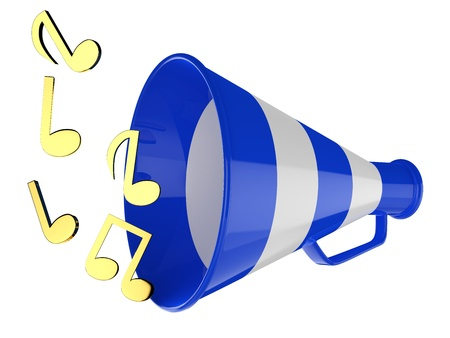 Blue megaphone with music notes isolated 3D illustration