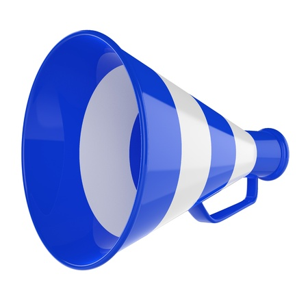 Blue megaphone with music notes isolated 3d illustration Stock Photo