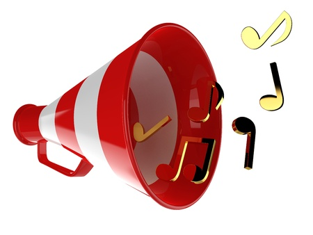 loudhailer: Red megaphone with music notes isolated 3d illustration