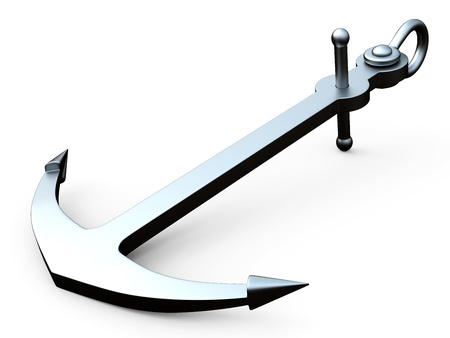3D steel anchor on a white background