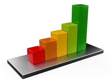 3D colorful bar chart Stock Photo