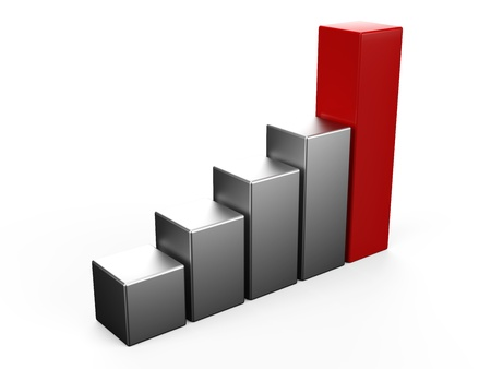 increasing: 3D bar chart Stock Photo