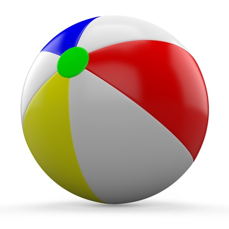 Single beach ball isolated on white background