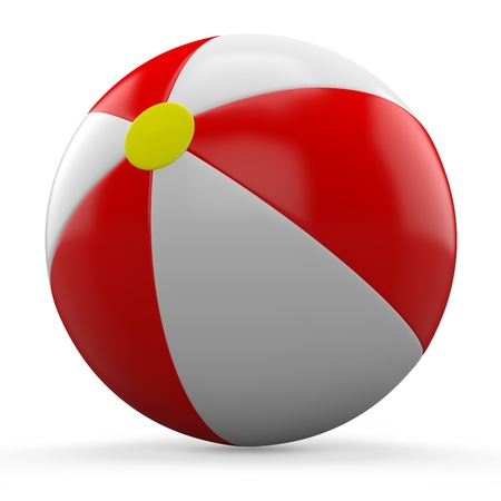 3D Red and white beach ball isolated on white background