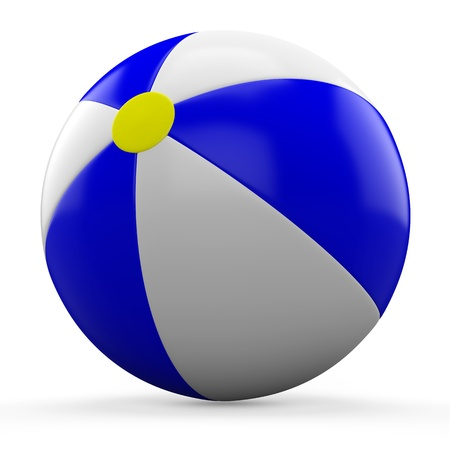 3D Blue and white beach ball isolated on white background