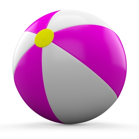 3D Pink and white beach ball isolated on white background  Stock Photo