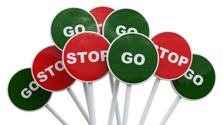 Stop sign among group of go signs    Stock Photo