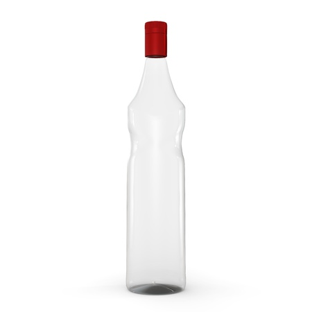 3D Glass bottle isolated on white background  Frontal view, blank for label