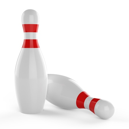 3d Bowling pins on white background Stock Photo - 17718797