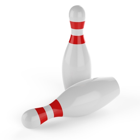 3d Bowling pins on white background Stock Photo - 17718802