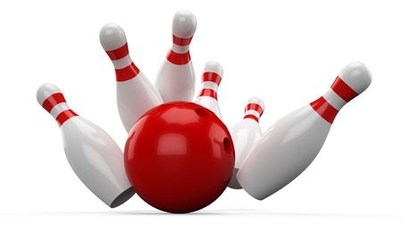 3D Bowling ball crashing into the pins Stock Photo - 17718803