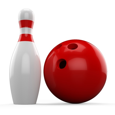 3D red bowling ball and pin isolated on white background photo