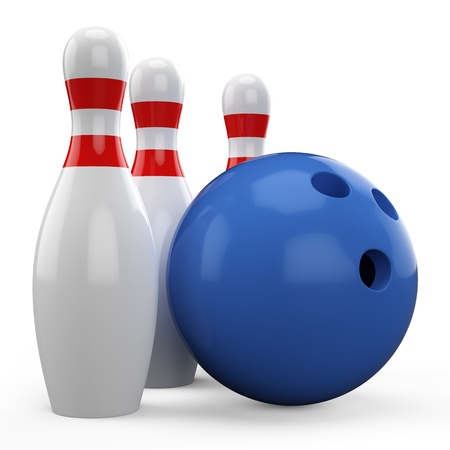 3D blue bowling ball and pin isolated on white background photo
