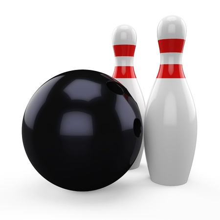 3D black bowling ball and pin isolated on white background photo