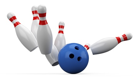 3d Bowling Ball crashing into the pins on white background Stock Photo