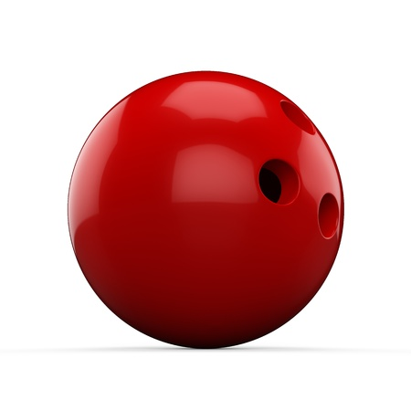 3d Red Bowling Ball on white background Stock Photo