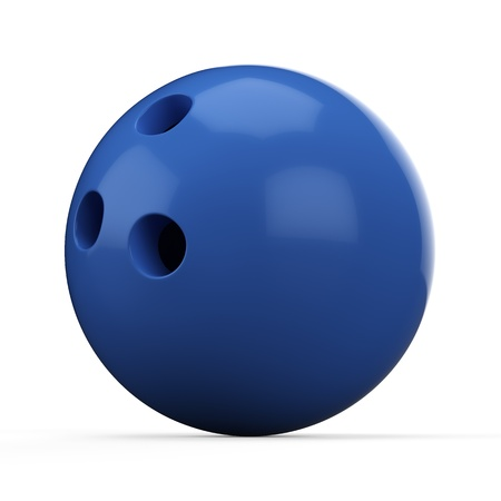 3d Blue Bowling Ball on white background photo