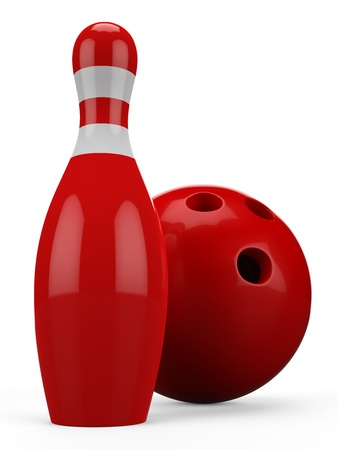 3D red bowling ball and pin isolated on white background