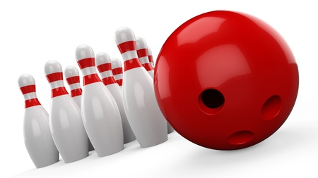 ten pin bowling: 3d Bowling Ball and Pin on white background
