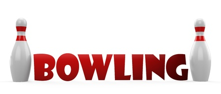 3d Bowling pin on white background photo