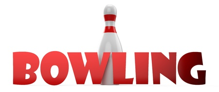 3d Bowling pin on white background