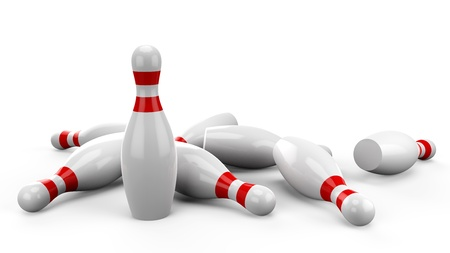 3d Bowling Pin on white background Stock Photo - 17907223