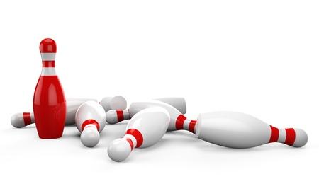 quille de bowling: Quilles 3d sur fond blanc