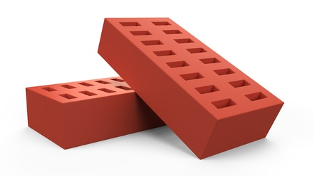 3D pair of bricks illustration isolated on white background Stock Photo