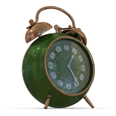 3D vintage alarm clock   Isolated white background  photo