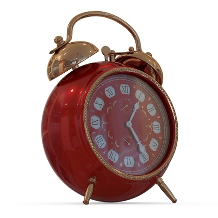 3D vintage alarm clock   Isolated white background