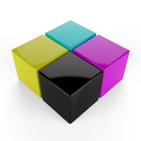 cmyk abstract: 3d render of cmyk cubes on white background Stock Photo