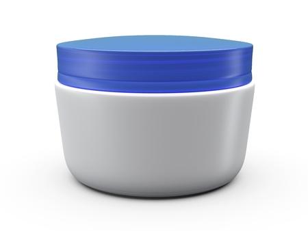 3d cream box over white background