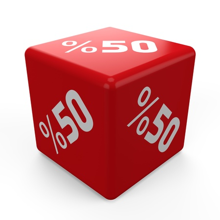 3d Discount Cube on white background