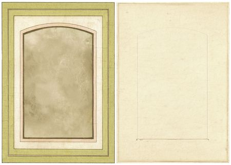 Victorian-era paper photo frame, front and back views. Stock Photo