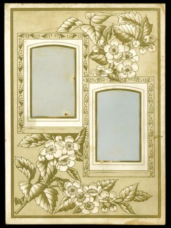 vintage retro frame: Victorian-era paper photo album page.
