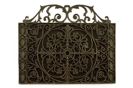 grille: Victorian-era iron household wall grille for heating and cooling air exchange.