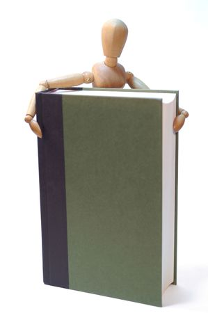 Art model interacting with a book. Stock Photo